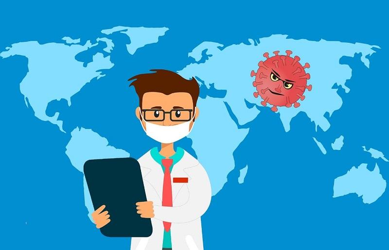 איור מפת העולם ורופא – מגפת הקורונה