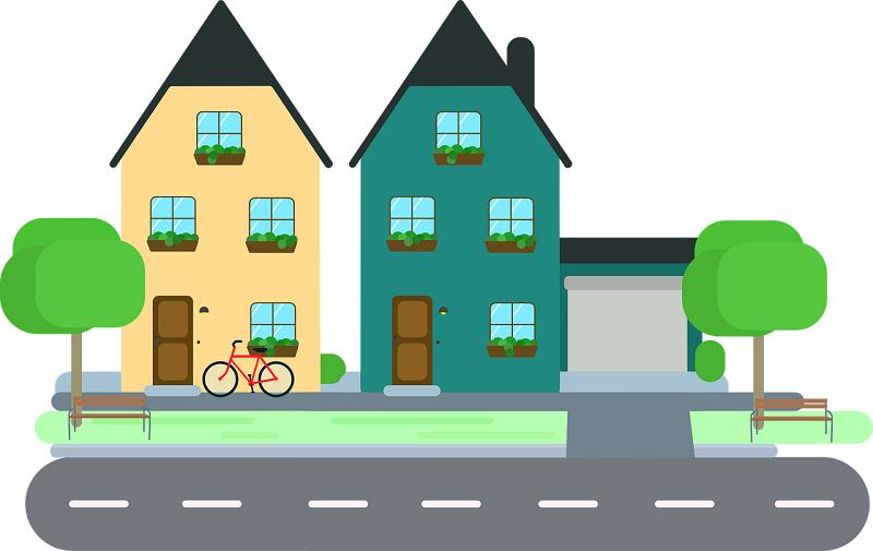 איור של בתים – השוואת מחירי ביטוח משכנתא