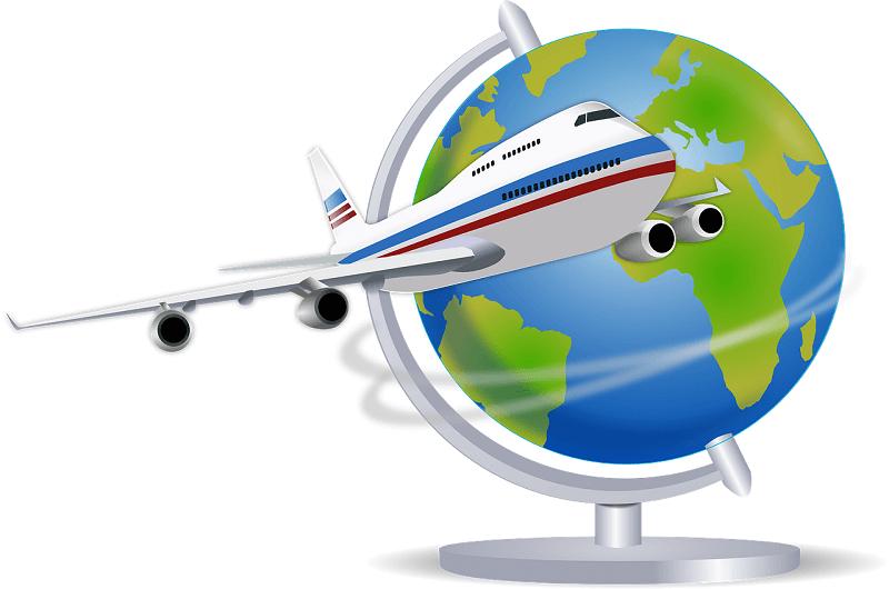 איור מטוס וגלובוס – השוואת מחירי ביטוח נסיעות לחו